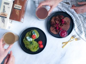 chocolate spinach oat pancakes